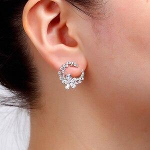 Image 5 - Son tasarım çiçek küpe mizaç basit moda metal kadın dekoratif kristal zirkon küpe kız sevgilisi düğün
