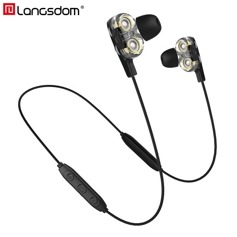 Langsdom BD34 Wireless Headphone Dual Driver Bluetooth Earphone With Mic CVC6.0 Super Bass Bluetooth Headset For Phone
