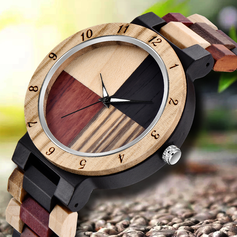 DROP SHIPPING Creative Full Natural Wood Male Watches Handmade Bamboo Novel Fashion Men Women Wooden Bangle Quartz Wrist Watch