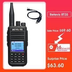 Радиоприемник RETEVIS RT3S DMR, цифровая рация с gps, DMR Ham Радио Amador 5 Вт DMR VHF UHF, Двухдиапазонная, совместима с Mototrbo/TYT DMR