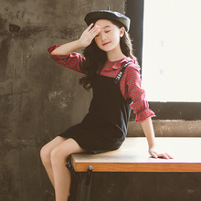 2019 Girl Clothes Princess Autumn Winter Girls Sets Outfit Long Shirt Red Plaid Casual Cute Kids for Teen