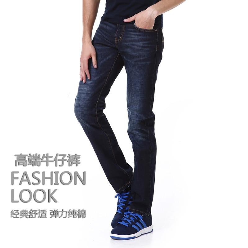 Youth Western Style Men Straight-Cut Cowboy Trousers Medium Waist Straight-Cut-Style Slim Fit Cotton Jeans Men's Fashion