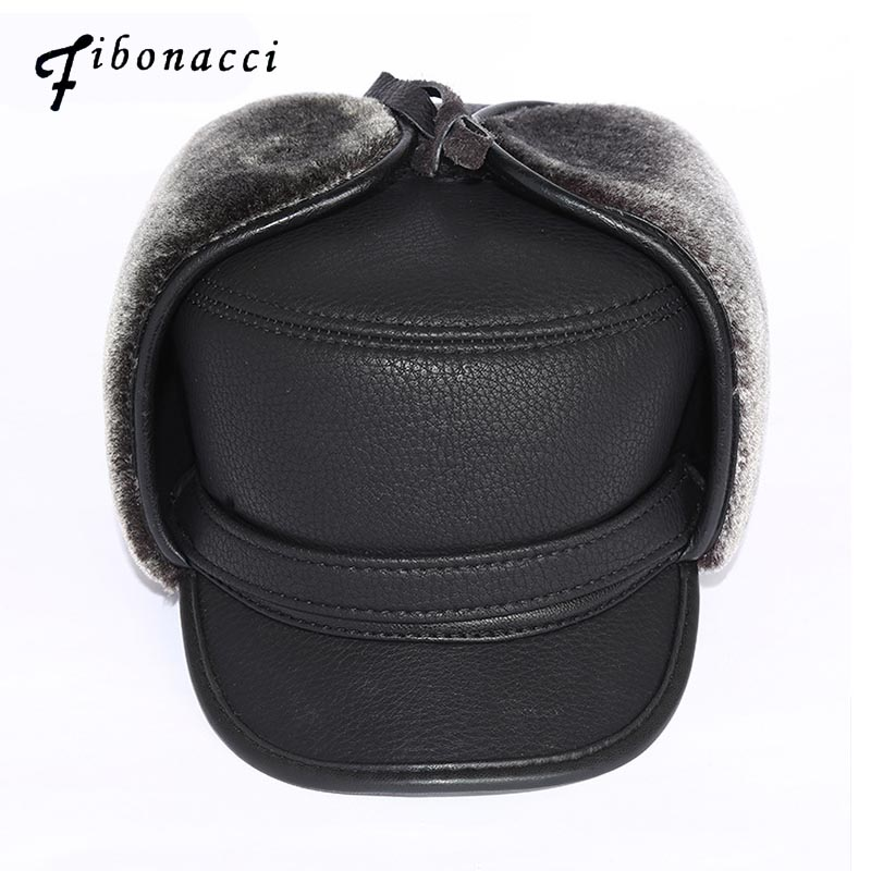 Fibonacci High Quality Cold Proof Warmth Retention Men Bomber Hats Middle Aged Old Age Winte Hat PU Leather Plush Ear Flat Cap