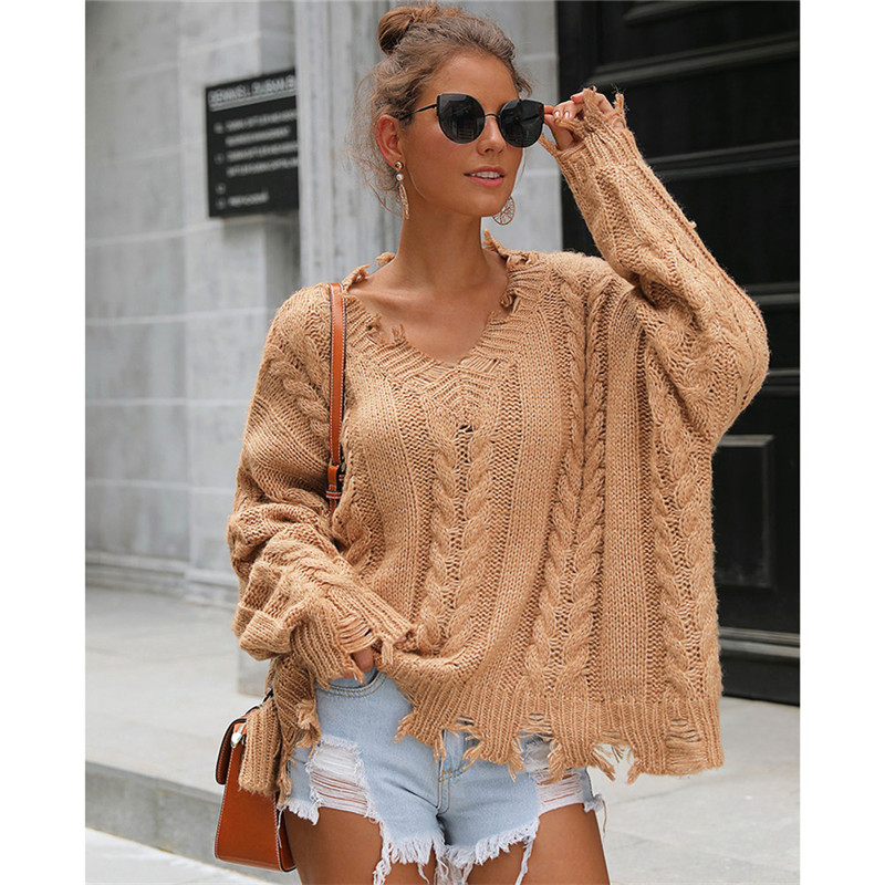 Women Long Sleeve V-neck Loose Pullover Sweatershirt Coat Autumn Winter Warm Sweater Jumper Ladies Destroyed Holes Sweater 2019