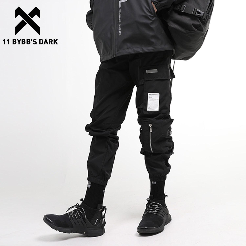 11 BYBB'S DARK Multi Pockets Hip Hop Cargo Pants Men Harajuku Casual Streetwear Sweatpants Joggers Ribbons Trousers Harem Pants