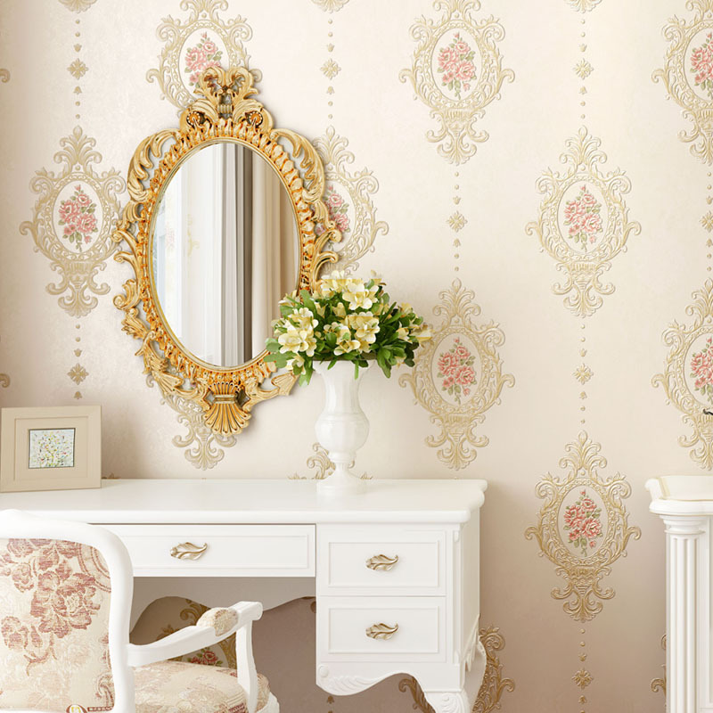 Simple European 3D Relief Fine Embossing Non-woven Wallpaper Bedroom Living Room Beauty Nail Salons Warm Wallpaper