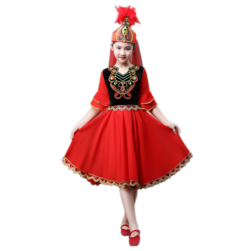 Children Uygur Costumes Kazakh Folk Dress Kids Dance Costume Girl Boy Xinjiang National Performance Clothing  Festival Outfits