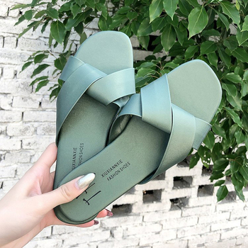 Women Slipper Round Toe Green Yellow Colors  Summer Beach Slides Flip Flops Outdoor casual sewing Shoes Woman Solid Slides 3