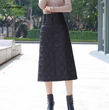 4XL חמה למטה כותנה חצאית נשים חורף בתוספת גודל עגל אורך כיס Slim לעטוף חצאית ארוך עבה חם גבוהה מותניים אישה חצאיות