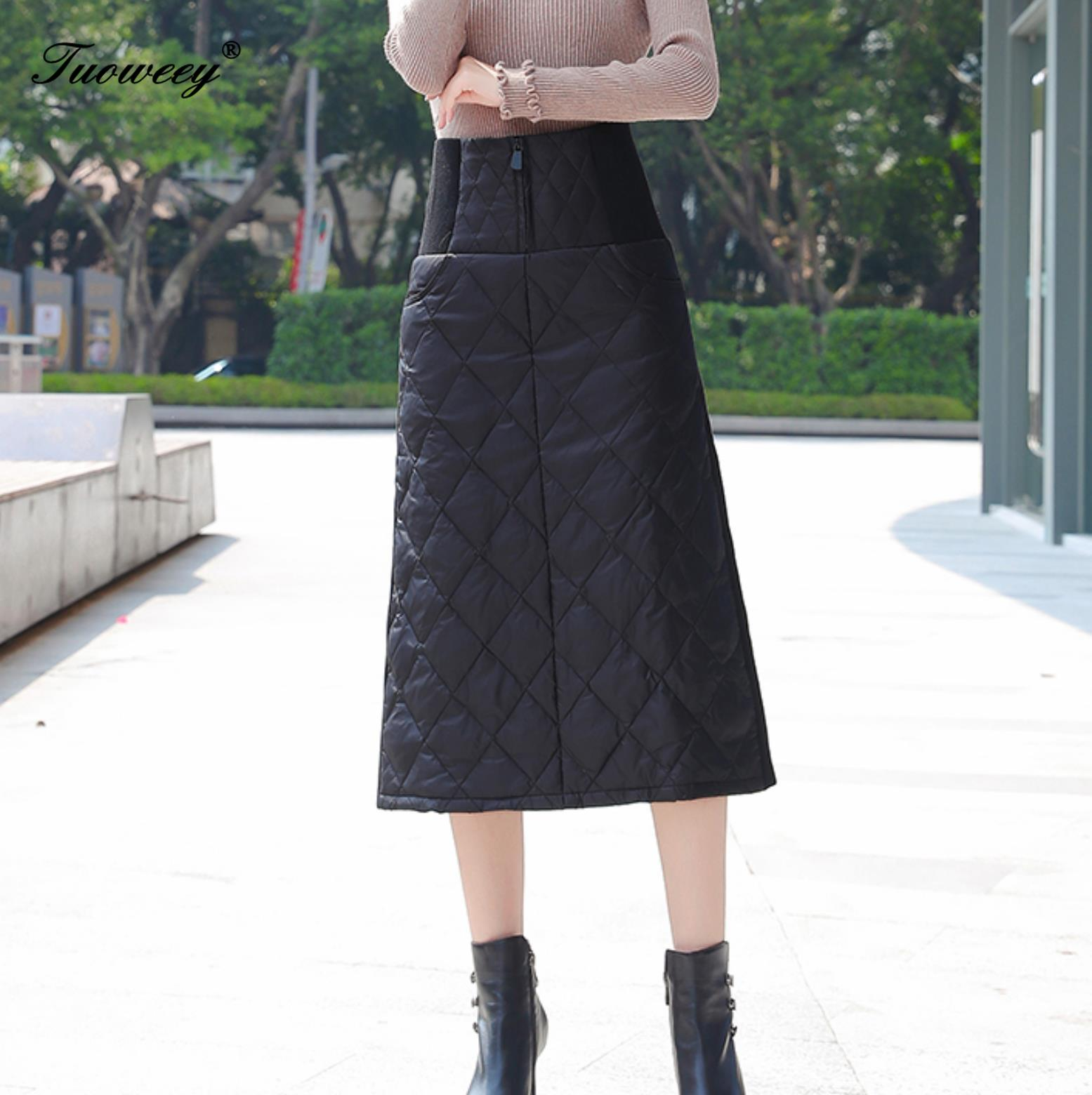4XL hot Down Cotton Skirt Women Winter Plus Size calf length 