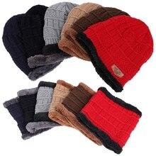 Мужская Женская модная зимняя Толстая теплая вязаная шапка, шапка бини, флисовая подкладка, теплый шарф для шеи, набор для сноуборда, катания на лыжах, катания на коньках, шапка