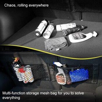 Car Back Rear Mesh Trunk Seat Elastic String Net Magic Sticker Universal Storage Bag Pocket Cage Auto Organizer Seat Back Bag