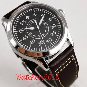 Image 4 - 42mm Corgeut Black dial Leather sapphire glass Luminous marks Militär Automatic Mechanical mens Watch