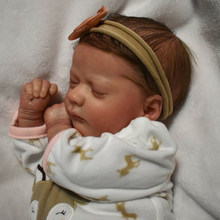 Rbg kit renascer bebê reborn boneca de vinil kit 17 polegadas ashley dormindo unpainted inacabado peças boneca diy em branco reborn boneca kit