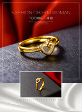 Gold-plated retro double heart ladies wedding ring fashion explosion show love ring ring цена