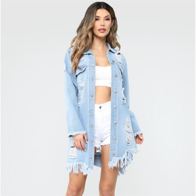 Big Size 3XL Women Denim   Jacket   Long Jeans   Jacket   Coat Casual hole Female cowboy   Basic     Jackets   Autumn Outwear 2019 388