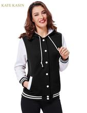 Kate Kasin Women Stylish Hooded Baseball Jacket Co