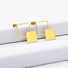 Square Geometric patterns stud earrings asymmetric geometry European and American OL style irregular fashion jewel