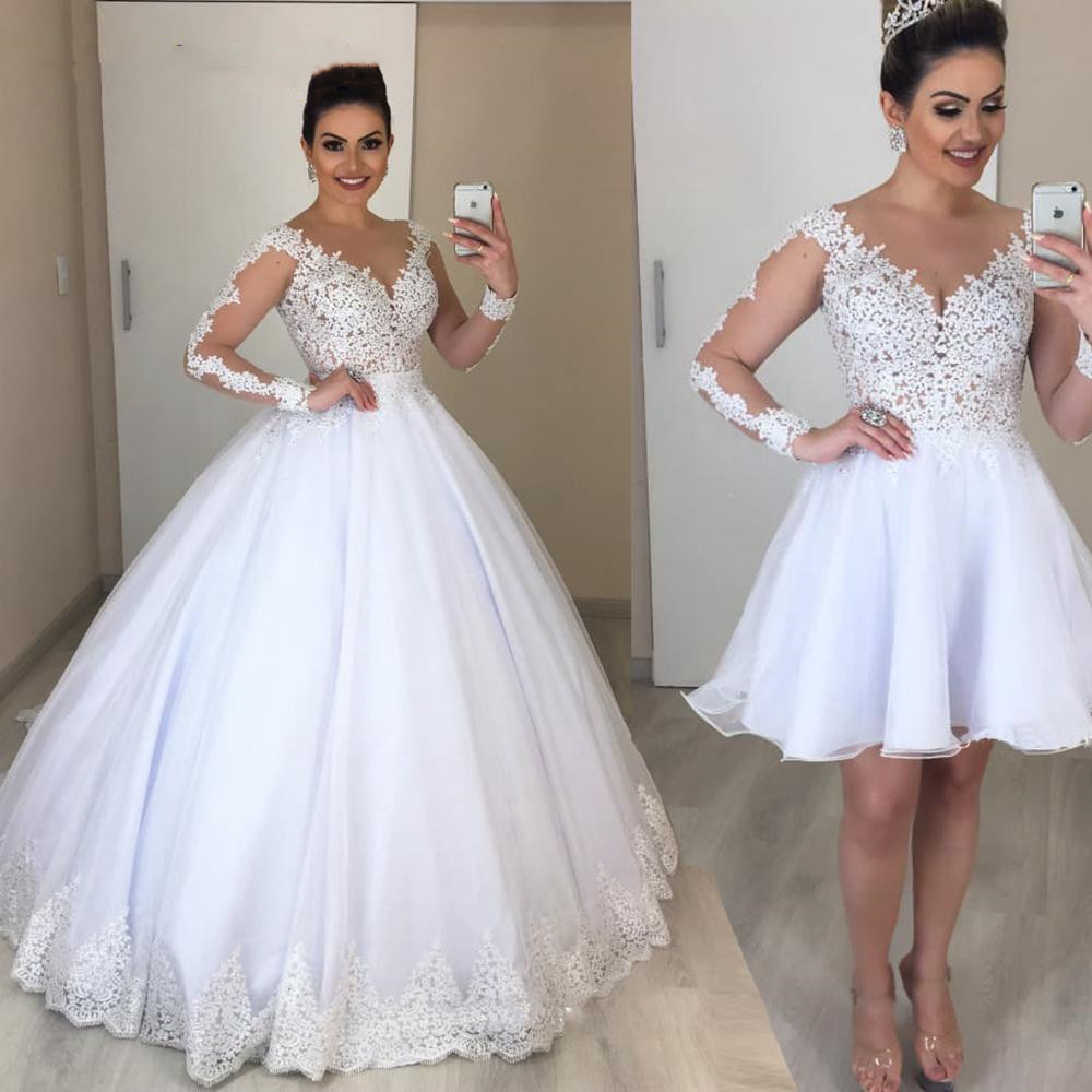 Real Photo 2 In 1 Plus Size Wedding Dress Boho 2020 Illusion Appliques Bridal Gown Vestido De Novias Bride Dresses Overskirt