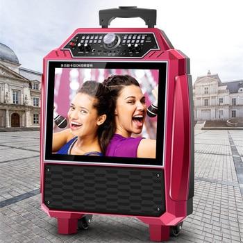 Trolley 22 inch HD video speaker karaoke machine mobile phone same screen bluetooth stereo audio MP3 multimedia player subwoofer