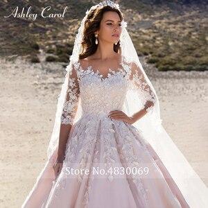 Image 3 - Ashley Carol Chữ A Áo Cưới 2020 Dài Tay Công Chúa Cô Dâu Đầm Lãng Mạn Muỗng 3D Chiếu Trúc Hạt Hoa Vintage Áo Dài Cô Dâu