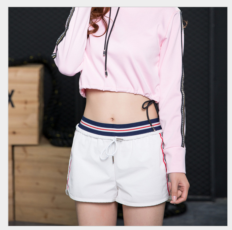Splicing Loose Lady Shorts Fitness Exercise Running Training Anti-slip Lining Elastic Sweat Fast Drying Pants