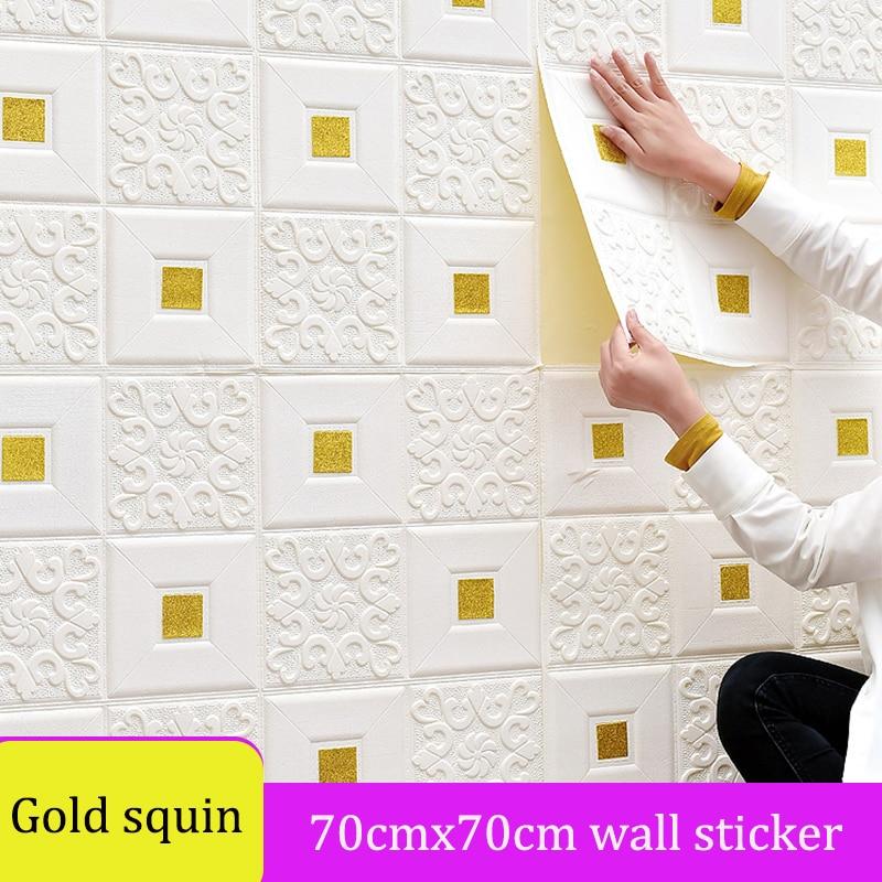 Pegatinas de pared autoadhesivas 3D para el hogar, decoración de pared de fondo de TV, papel tapiz impermeable de lentejuelas doradas, suave, europeo, para sala de estar y dormitorio