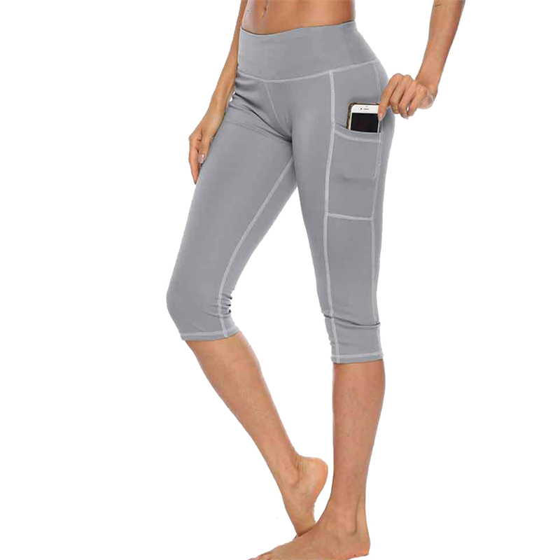 Women Leggings Black Grey Solid Color Side Pockets Skinny Stretchy Pants Casual Sport Fitness Leggings Capris Cropped Pants