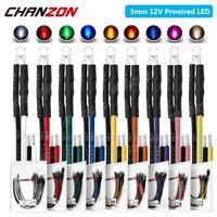 Diodo emisor de luz LED precableado, Bombilla de lámpara con Cable de 3mm, CC de 12V, Blanco cálido, rojo, verde, azul, amarillo, naranja, UV, rosa, precableado, 20 Uds.