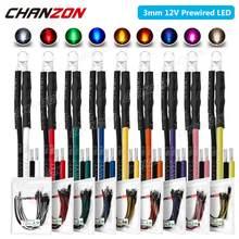 20 pces 3mm prewired diodo emissor de luz led dc 12v branco quente vermelho verde azul amarelo laranja uv rosa pré prendido cabo lâmpada