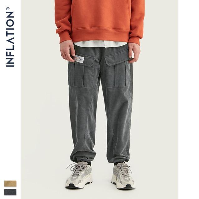 INFLATION 2020 Collection hommes décontracté velours côtelé survêtement pantalons hommes coupe ample velours côtelé salopette couleur unie décontracté hommes pantalons 93319W