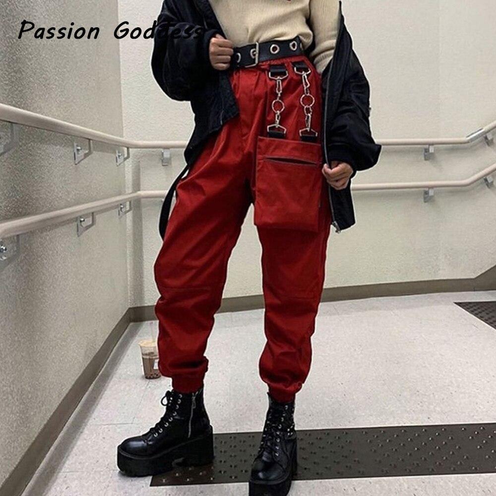 Moda Mujer Pantalones Cargo Con Cadena Bolsillos Bolsos Sueltos Hip Hop Dance Casual Full Pants Sweatpants Cintura Alta Jogger Pantalones Holgados Pantalones Y Pantalones Capri Aliexpress
