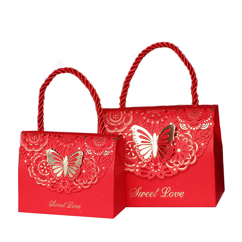 Wedding Three-dimensional Portable Bag Favors Decorations Sweet Love Candy Box Party Supplies Paper Gift Boxes Bags For Guests