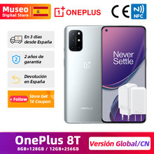 OnePlus 8T 8 T, Versión China y versión global, 128GB/256GB ROM, Snapdragon 865 móvil, 6.55'' 120Hz Pantalla fluida, 48MP Cámaras cuádruples 65W Carga NFC