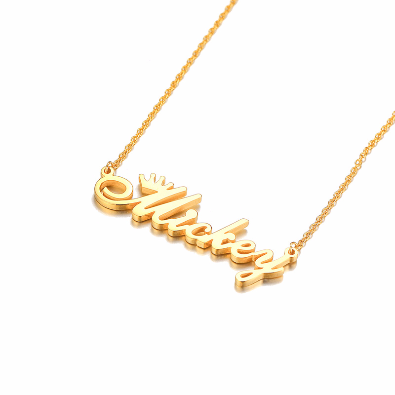 Personalize Crown Name Chokers for Women Solid Stainless Steel Necklaces Letter Initial Pendant Gold-color Custom Gift Jewelry