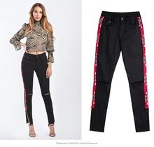 купить Women's Striped Jeans European Style Women's Waist Slim Double Side Striped Pants Stretch Denim Feet  Split Fork Jeans Black по цене 1230.33 рублей