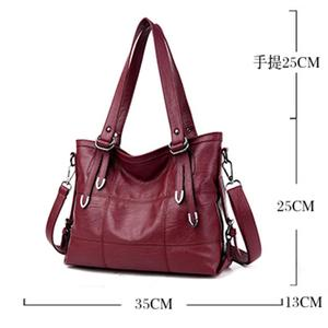 Image 5 - Ladies Retro Large Handbags Fashion PU Leather Shoulder Bag Female Large Tote Handbag Ladies Solid Color Luxury Tote Sac A Main