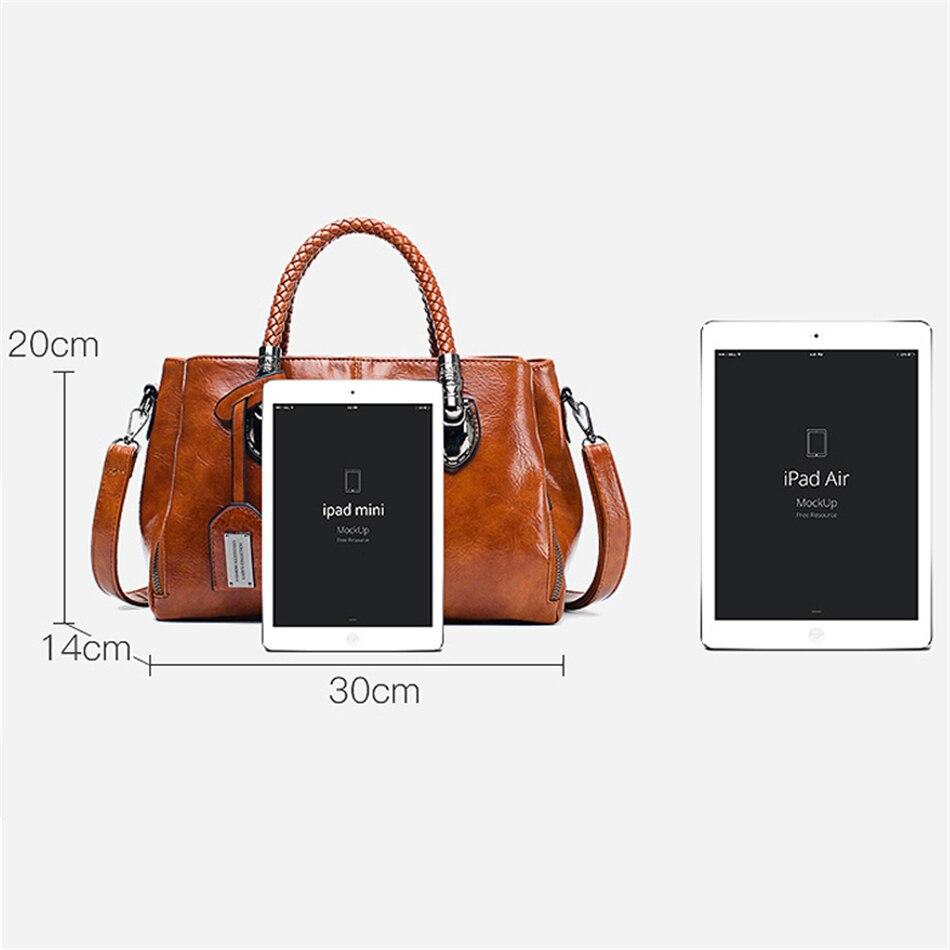Vintage Oil Wax leather luxury handbags women bags designer ladies hand bags for women 2019 bag sac a main Femme Bolsa Feminina 2