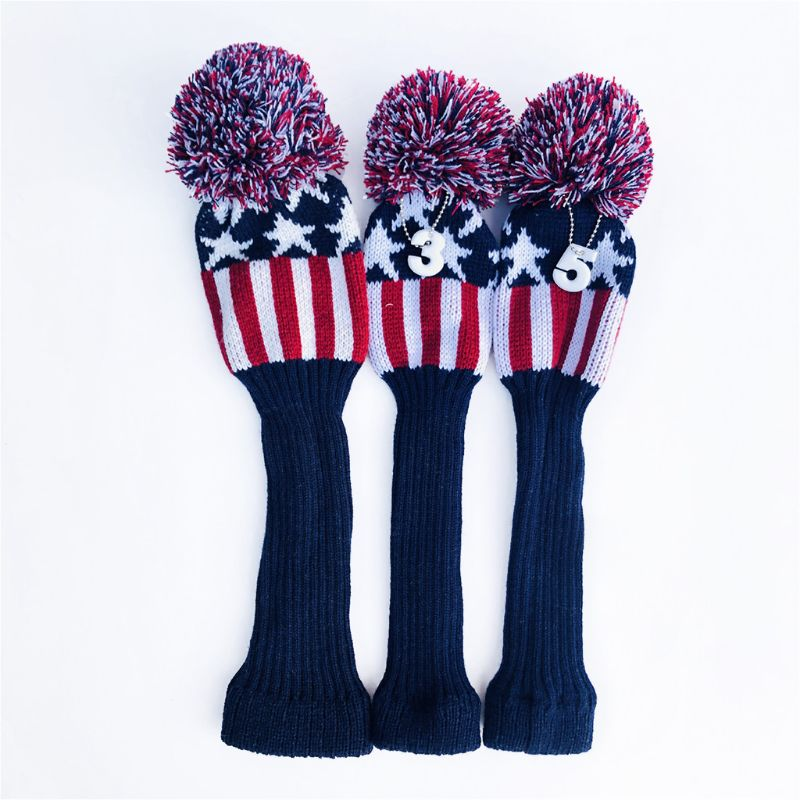 3 Pcs Vintage Knitted Golf Headcover Driver Sock Club Wood Head Covers Protect D0LB
