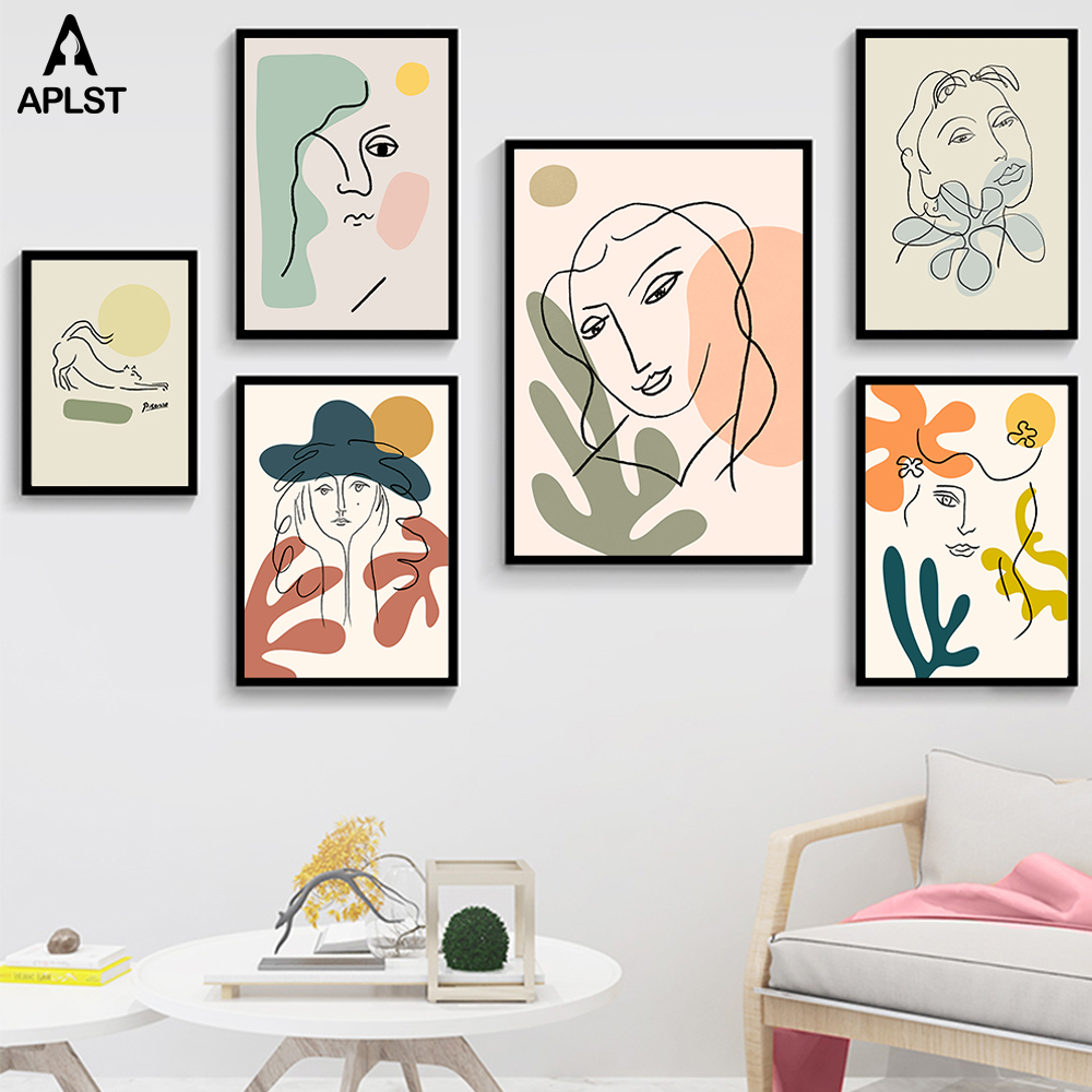 Nordic Fashion Abstract Women Face Matisse Line Drawing Poster & Prints Colorful Girls Canvas Painting Wall Art Pictures Bedroom