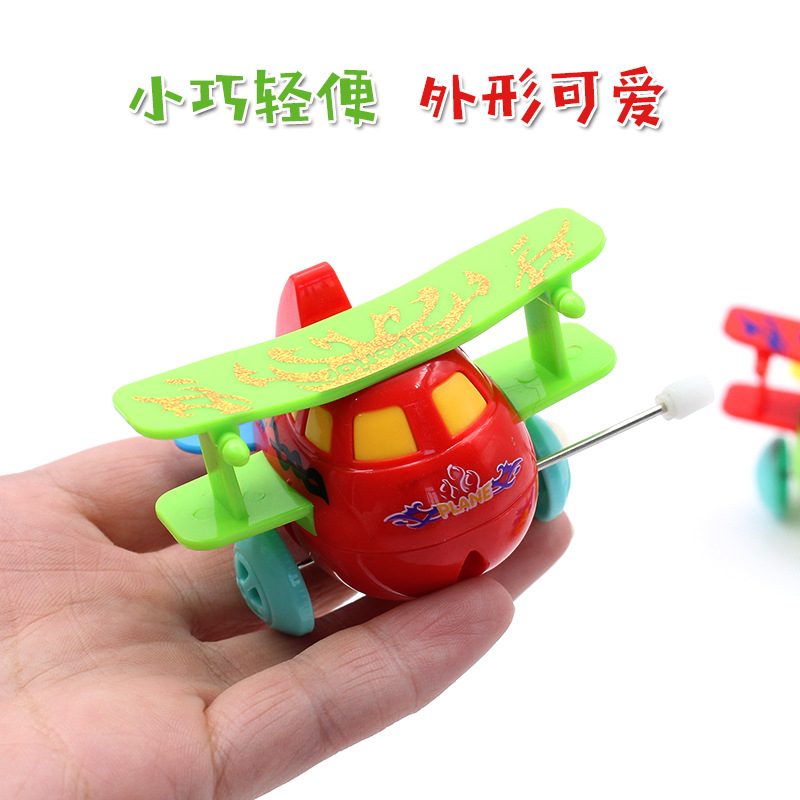 Hot Sales Creative Children Wind-up Toy Cartoon Winding Tilting Airplane Small Toy Stall Supply Of Goods