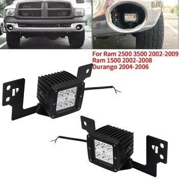 Front Bumper Fog Light Mounting Brackets & 2X 3 inch LED Square Lights for Dodge Ram 2500 3500 2002-2009 & Ram 1500 2002-2008 &