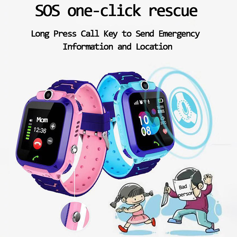 Q12 Children's Smart Watch SOS Phone Watch Smartwatch For Kids With Sim Card Photo Waterproof IP67 Kids Gift For IOS Android