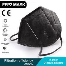 100 pçs adulto kn95 mascarillas ce ffp2 máscara facial 5 camadas n95 filtro respirador máscara protetora à prova de poeira máscaras de boca