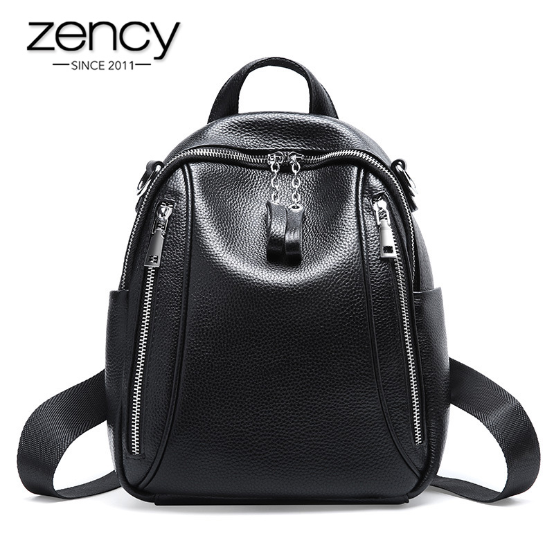 Zency 100% Genuine Leather Soft Skin Fashion Women Backpack More Zipper Pockets Daily Casual Travel Bag Black Schoolbag For Girl