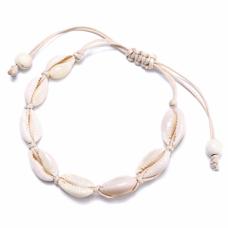 Artystyczne modne naturalna muszla ręcznie robiona bransoletka dla kobiet powłoki bransoletki zroszony Strand bransoletka wisiorek biżuteria prezent Whlesale