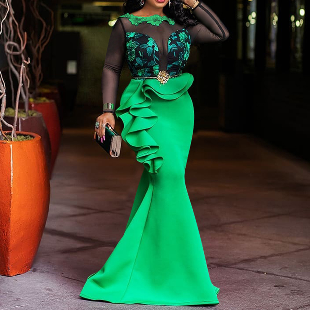 Mesh Transparent Elegant Long Party Dress Women Mermaid Plus Size African Ruffle Dinner Maxi Dresses Robe Femme Vestiods Sexy