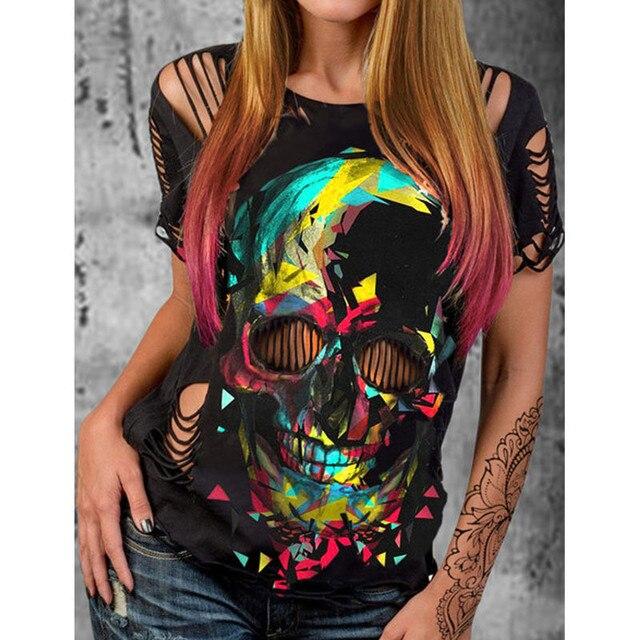 Punk Style Skull Print Hollow Out Black T Shirt Women Sexy Short Sleeve Slim Mesh O-Neck Top Tee T-Shirt