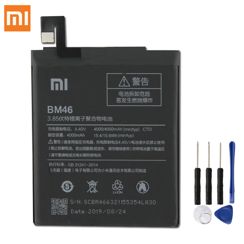 Original xiaomi bm46 bateria de substituição para xiaomi redmi nota 3 note3 pro note3 redrice authentic telefone baterias 4050 mah
