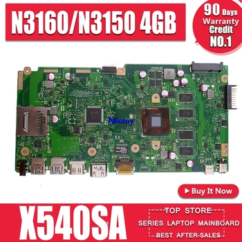 X540SA REV2.1 fit For ASUS X540S X540SA Laptop motherboard W/ 4GB-RAM  test motherboard work 100%  N3160/N3150 4GB RAM
